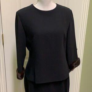 {Chetta B}Sz 12-2 piece Blk Skirt/Top w/Mink Cuffs